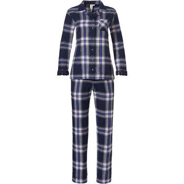 Rebelle flanellen doorknoop dames pyjama met lange mouwen 'denim blue checks & lace'