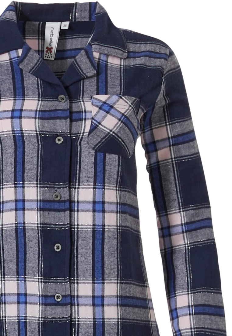 Rebelle 'denim blue checks & lace' dark denim blue, pale pink & royal blue, 100% cotton flannel, full button pyjama with revere collar, pocket on chest , darkblue lace edge on turn-up sleeve and long matching pants