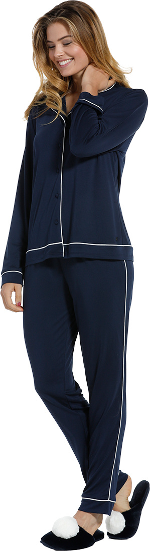 Pastunette Deluxe 'delightful midnight blue' dark blue & white, luxurious & soft, long sleeve, full button, 75% modal nightshirt with revere collar chest pocket and long matching  pants