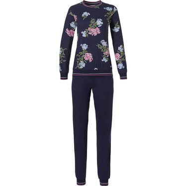 Pastunette 'winter flowers', dark blue, pretty floral pattterned ladies long sleeve 50% cotton - 50% modal pyjama with cuffs