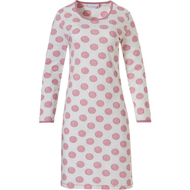Pastunette 'pretty dotty' pink & off white long sleeve cotton nightdress with pretty pink allover dotty circles and pink trimmings