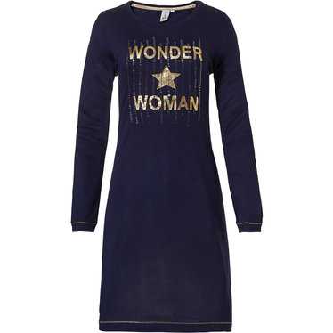 Rebelle Wonder Woman ★ STAR' dark blue & gold long sleeve nightdress with text 'Wonder Woman ★ STAR' on the front along with gold sequins
