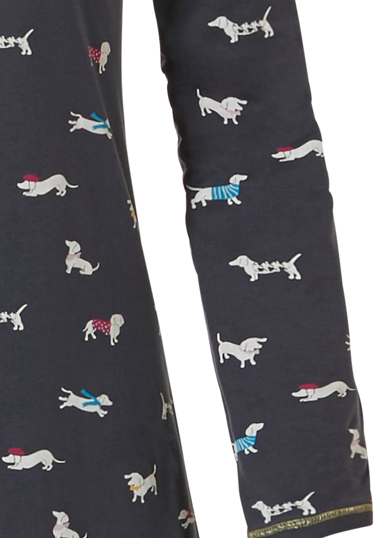 Rebelle 'sausage dogs' dark grey long sleeve, 100% cotton nightdress with an all over pattern of cute, little 'sausage dogs'