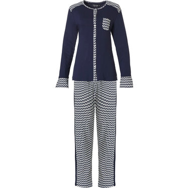 Pastunette Deluxe 'links of fashion' dark blue & white full button long sleeve pyjama set with 'little bit links of fashion' cuffs, shoulder detail, chest pocket, cuffs, shoulder detail and long dark blue and white patterned pants with dark blue side sripe