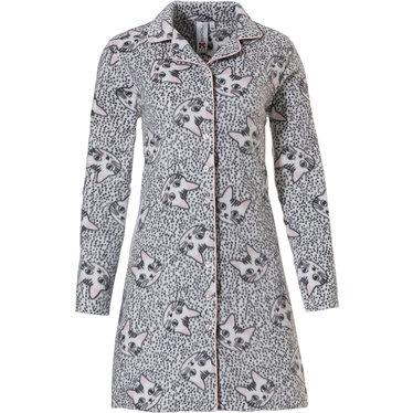 Rebelle doorknoop, fleece, dames nachthemd met lange mouwen 'pretty kitty cats'