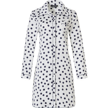 Pastunette Deluxe 'delightfully dotty' off white & midnight blue long sleeve, full button, soft - luxe, cuddle satin nightshirt revere collar and chest pocket