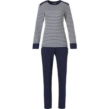 Pastunette Deluxe 'links of fashion' dark blue & white long sleeve pyjama set with cuffs, shoulder detail and long dark blue pants