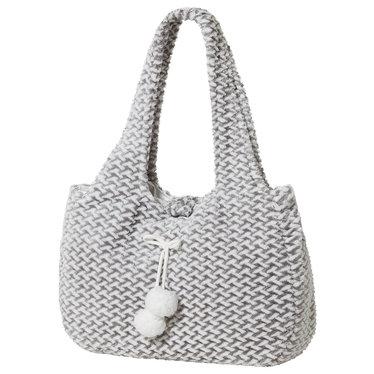Pastunette 'criss cross weave' wit & grijze zachte fleece 'pom pom' tas met magneetsluiting - Handig voor je spullen naast je op de bank!