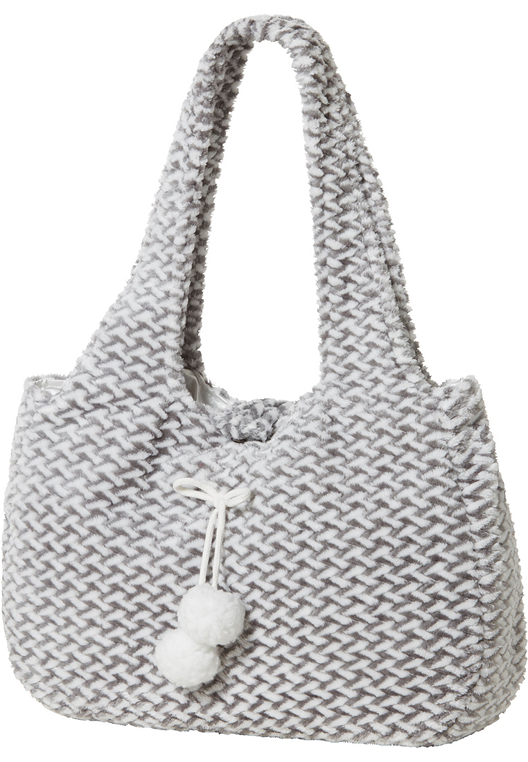Pastunette 'criss cross weave' white & grey soft fleece pom pom bag with closure  - Handy for your bits & bobs next to you on the sofa!