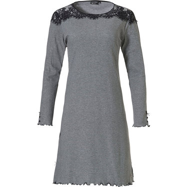 Pastunette Deluxe 'modern twist & lace' black & dark grey cotton-polyester stylish homedress with detailed buttons and bows, frilled sleeves, hem and delicate lace around shoulders