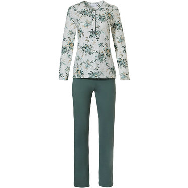 Pastunette 'pretty Winter-wish  garden' off white & forest green long sleeve 100% cotton pyjama set with 5 buttons and long forest green pants