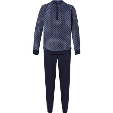 Pastunette for Men 'symmetrical crescent' light & dark blue 100% single jersey cotton, patterned pyjama with 4 buttons and long dark blue cotton pants with cuffs
