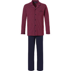 Pastunette for Men mens full button cotton pyjama set 'smart diamond dots'