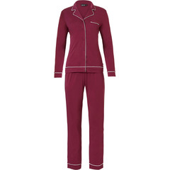 Pastunette Deluxe long sleeve full button pyjama 'delightful bordeaux'
