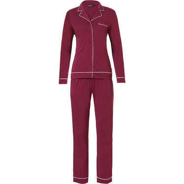 Pastunette Deluxe 'delightful bordaux' dark red & white, luxurious & soft, long sleeve, full button, 75% modal pyjama with revere collar, chest pocket and long matching  pants