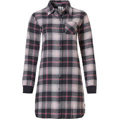 Rebelle full button cotton flannel nightshirt 'trendy checks'