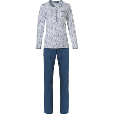 Pastunette Deluxe 'elegant feathers' off-white & blue long sleeve classic style pyjama set with 5 buttons, chest pocket, delicate lace trimmimgs and long blue pants