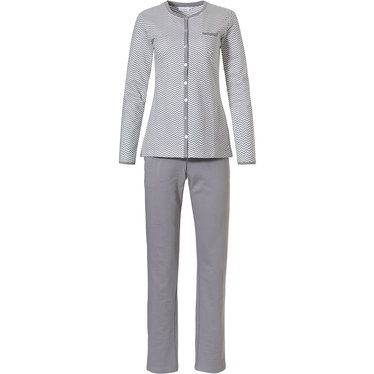 Pastunette 'fine zig-zags' grey & white 100% cotton french terry, warm, long sleeve full button pyjama set with chest pocket and long grey pants