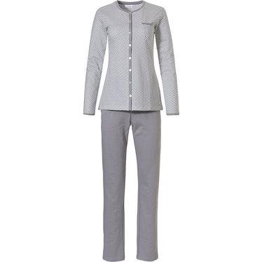 Pastunette 'fine zig-zags' lichtgrijs & witte 100% katoenen french terry, warme, doorknoop pyjama met lange mouwen, borstzakje en lange lichtgrijze broek