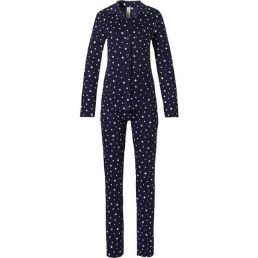 Rebelle 'all starry ★ ★ ★' navy blue & white long sleeve full button pyjama with revere collar and long matching pants
