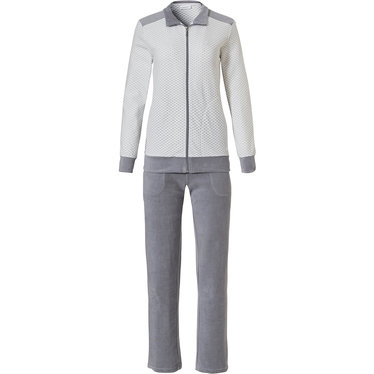 Pastunette 'criss cross hearts' white & grey comfy lounge homesuit set with collar, full zip and long grey velvet pants with 2 pockets - Perfect to lounge at home Day or Night!