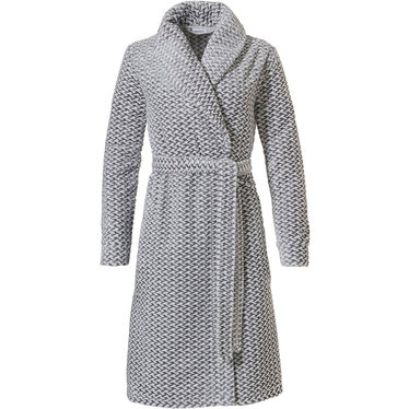 Pastunette 'criss cross weave' white & grey soft fleece wrap-over morninggown with shawlcollar, belt and two pockets - Wrap yourself up in fluffiness and  be  cosy & warm  this Winter!