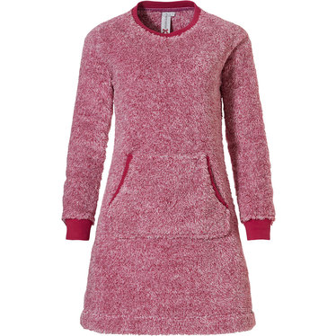 Rebelle 'fluffy pink' raspberry pink, soft fleece home lounge dress with handy kangaroo pocket and pretty pink trimmings and cuffs