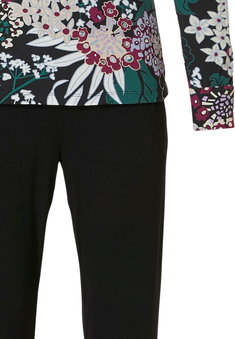 Pastunette Deluxe 'intense floral'  green & red long sleeve 95% modal floral pyjama set with long black pants