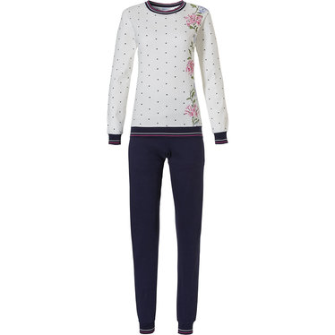 Pastunette 'winter flowers & little trianges', pretty floral patterned, off-white ladies long sleeve, warm cotton interlock pyjama set with allover little dark blue triangles and long dark blue cuffed pants