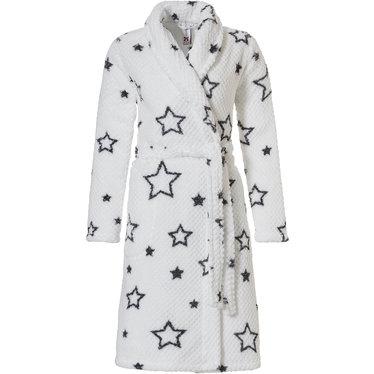 Rebelle ★ star it up ★', sneeuwwitte & donker grijze trendy & warme coral fleece overslag badjas met sjaalkraag, ceintuur en 2 zakken