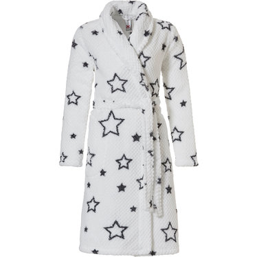 Rebelle '★ star it up ★', snow-white & dark grey soft fleece wrap-over trendy looking warm morning-gown with shawl collar, belt and two pockets