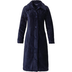 Pastunette ladies soft fleece full button morninggown 'hint of broken zig-zag'