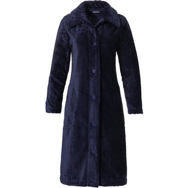 Pastunette 'hint of broken zig-zag' dark blue ladies soft & warm, full button fleece morninggown with collar and two pockets