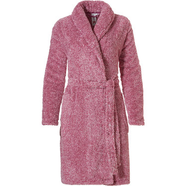 Rebelle 'fluffy pink' raspberry pink soft fleece wrap-over morninggown with shawlcollar, belt and two pockets  (100cm)