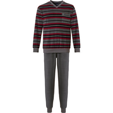Robson 'multi stripes' grey, red & dark grey mens cotton terry pyjama set with 'v' neck, chest pocket and long grey cuffed pants