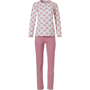 Pastunette 'pretty dotty' pink & off white long sleeve cotton pyjama set with pretty pink allover dotty circles, pink trimmings and long pink pants