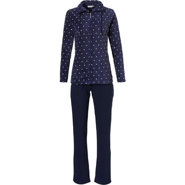 Pastunette 'a little bit dotty' ladies dark blue & pure white, warm coral fleece homesuit with collar with cord, full zip and two front pockets and long dark blue cotton-polyester pants