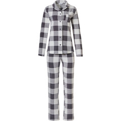 Pastunette long sleeve full button fleece pyjama 'block chunky checks'