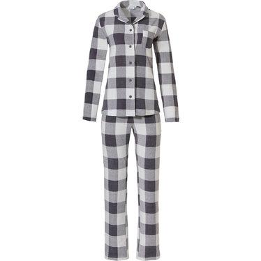 Pastunette 'blok chunky checks' wit & grijze doorknoop, warme polar fleece pyjama met lange mouwen , borstzakje en bijpassende lange 'blok chunky checks' broek