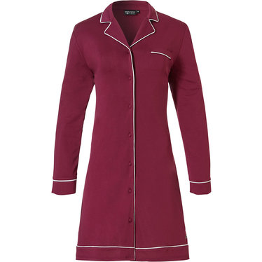 Pastunette Deluxe 'delightful bordaux' dark red & white, luxurious & soft, long sleeve, full button, 75% modal nightshirt with revere collar and chest pocket