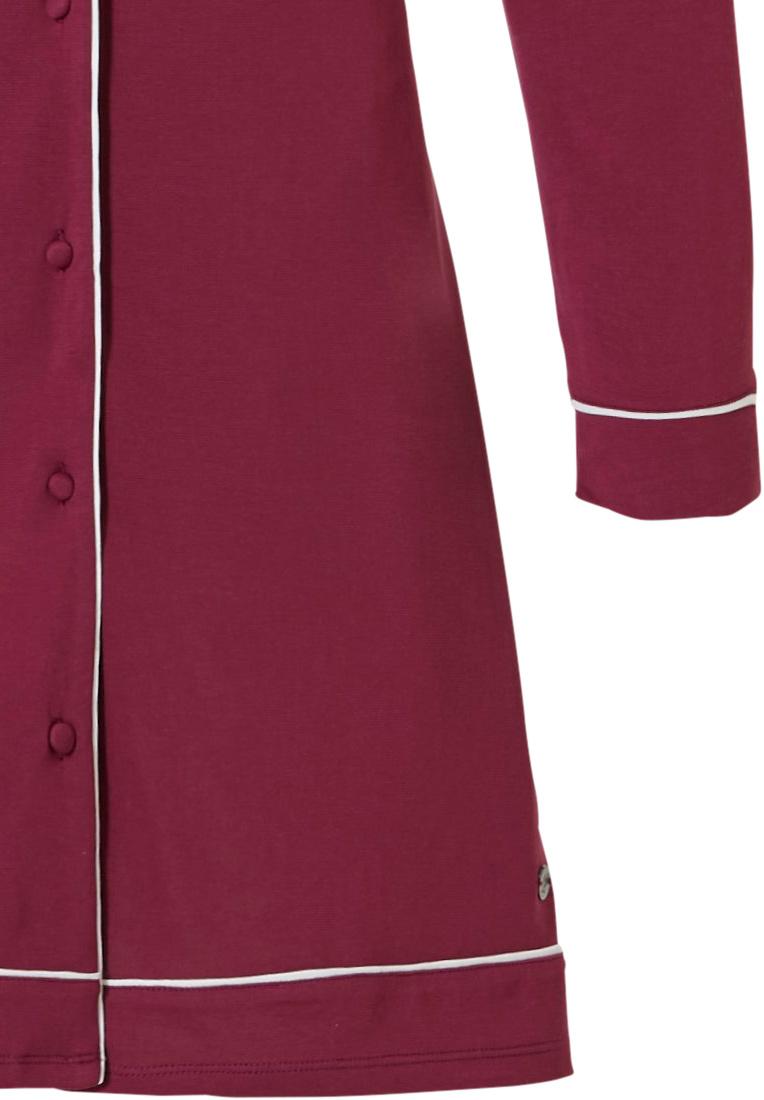 Pastunette Deluxe doorknoop nachthemd met lange mouwen 'delightful bordeaux'