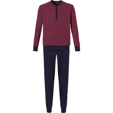 Pastunette for Men 'smart diamond dots' maroon long sleeve cotton single jersey pyjama set with 4 buttons, dark blue trimmings and cuffs, an all over 'smart diamond dots' pattern and long dark blue cuffed pants