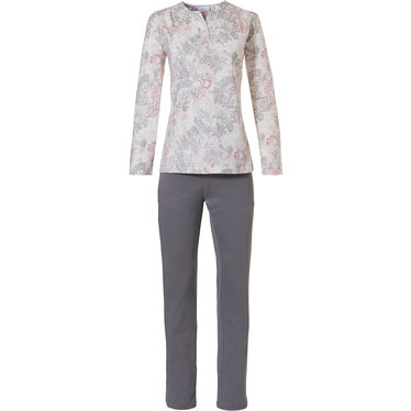 Pastunette 'vintage floral' off white, pink & light grey cotton -modal long sleeve pyjama set  with 3 buttons and long light grey pants