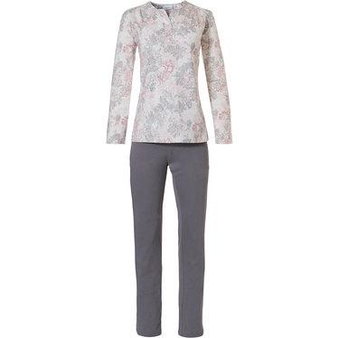 Pastunette 'vintage floral' off-white, roze & lichtgrijze katoen-modal pyjama met lange mouwen en 3 knopen en bijpassende lange lichtgrijze broek