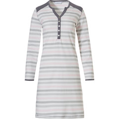 Pastunette katoenen nachthemd met lange mouwen 'perfect horizontal triangle lines'