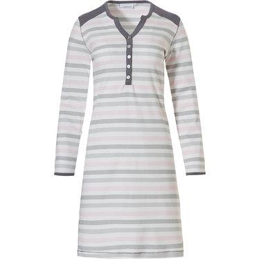 Pastunette 'perfect horizontal triangle lines', zachtroze, wit & grijs nachthemd met lange mouwen met 5 knoopjes en grijze schouderstukken en trimmings