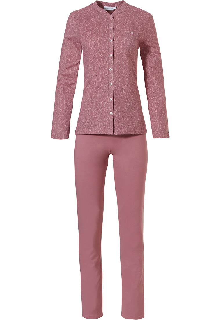 Pastunette 'leaves of dreams' pink long sleeve 100% cotton, full button pyjama set with chest pocket and long pink matching pants
