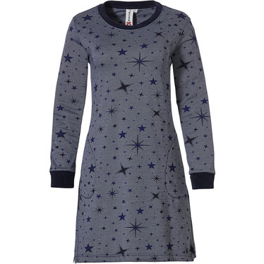 Rebelle '★ stars at night ★' dark blue cotton-mix long sleeve nightdress with cuffs and two pockets