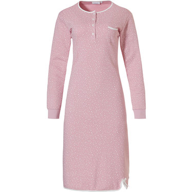 Pastunette 'allover dottiness' pretty pale pink, ladies long sleeve100% cotton interlock nightdress with 5 buttons, chest pocket and little white decorative bow at hem detail