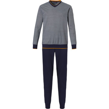 Pastunette for Men 'fine little zigzags' grey long sleeve cotton top with 'fine little zigzags' pattern with dark amber trimmings and long grey cuffed pants